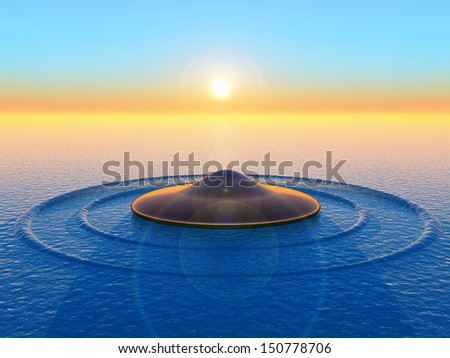 flying saucer landing on water