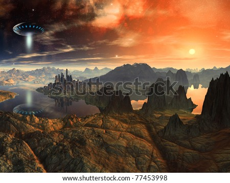 Flying Saucer Ship over Alien Landscape