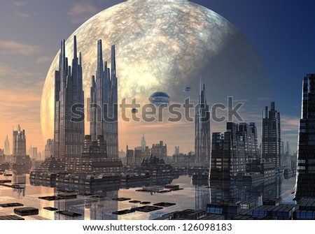 Flying Saucers over Modern Cityscape
