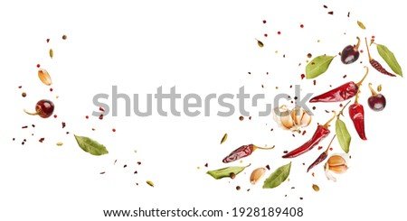 Flying set of colorful spices peppers, chili, garlic, laurel leaf, herbs in the air isolated on white background. Food and cuisine ingredients wide banner, top view, with copy space.