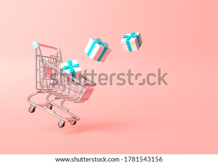 Flying shopping cart with gift on a pink background. Shopping Trolley. Grocery push cart. Minimalist concept, isolated cart. 3d render illustration