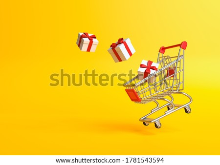 Flying shopping cart with gift on a yellow background. Shopping Trolley. Grocery push cart. Minimalist concept, isolated cart. 3d render illustration