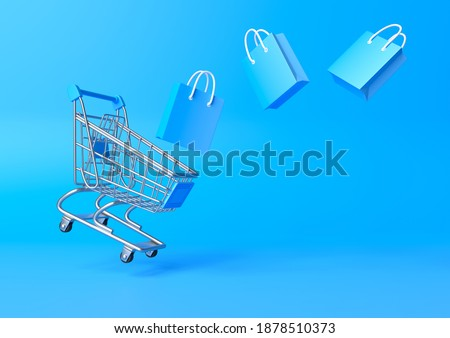 Flying shopping cart with shopping bags on a blue background. Shopping Trolley. Grocery push cart. Minimalist concept, isolated cart. 3d render illustration