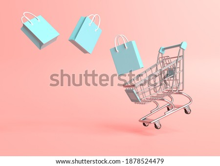 Flying shopping cart with shopping bags on a pink background. Shopping Trolley. Grocery push cart. Minimalist concept, isolated cart. 3d render illustration