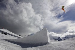 flying skier on mountains, big air