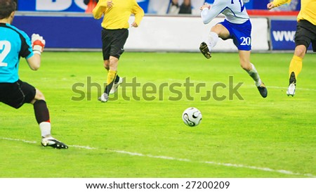 Flying soccer player during the soccer match