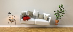 Flying sofa and furniture in weightlessness in the living room