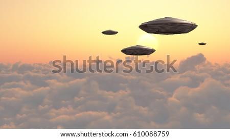 Flying spacecrafts in cloudy sky.     3D Rendering