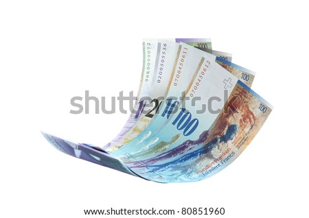Flying Swiss Franc note, isolated as element