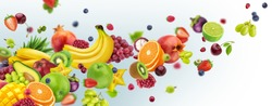 Flying tropical fruits and berries isolated on white background. Healthy vegetarian nutrition. Falling exotic summer salad ingredients