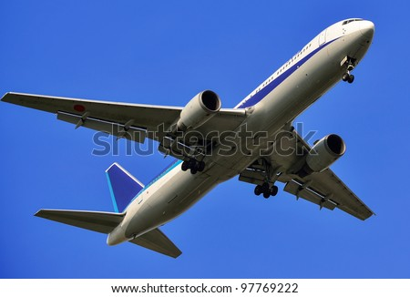 flying up passenger airplane isolated over blue sky background