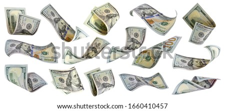 Flying US hundred dollars collection Benjamin Franklin on 100 dollar bank note isolated on white background. This has clipping path.