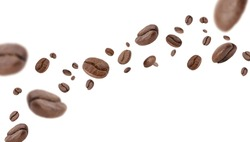 Flying whirl roasted coffee beans in the air studio shot isolated on white background long banner with copyspace, Healthy products by organic natural ingredients concept