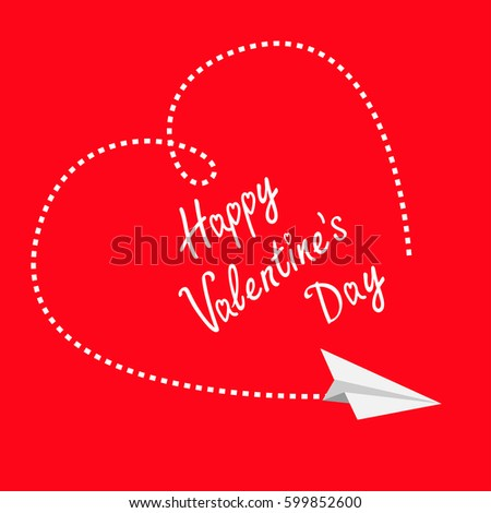 Flying white paper plane. Dashed heart in the sky. Happy Valentines Day Greeting card. Flat design. Red background. Isolated
