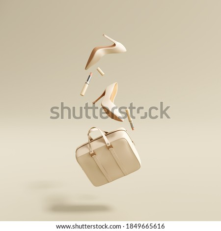 Flying woman's accessories bag, high heels, lipsticks on cream color background. 3d rendering ストックフォト ©