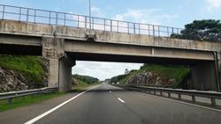 Flyover above Sri Lanka expressway.Highway solution for traffic jam.