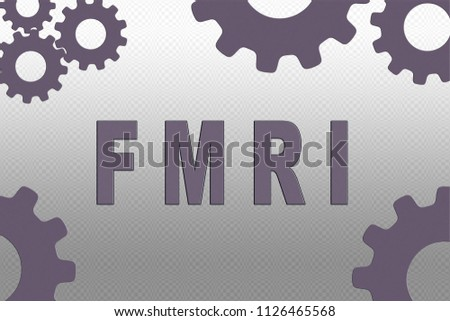 FMRI sign concept illustration with pale purple gear wheel figures on gray gradient background