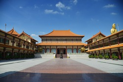 Fo Guang Shan Thaihua Temple is a Beautiful Mahayana Buddhist Taiwanese Temple Locates in North Bangkok Thailand (the non-English text is the name of the Temple or Buddha Image)