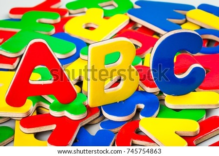 Foam ABC Letters with Other Letters on the Background #745754863