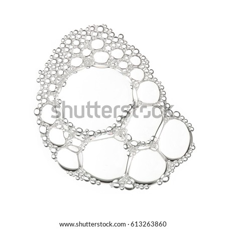 Foam bubble from soap or shampoo washing isolated on white background on top view photo object design