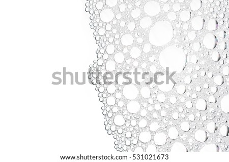Foam bubble from soap or shampoo washing isolated on white background top view