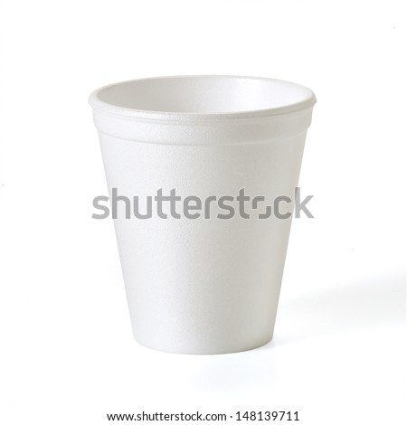 Foam takeaway cup with clipping path