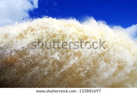 foaming water background on barrage