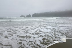Foaming waves in the mist at Florencia Beach, Pacific Rim National Park