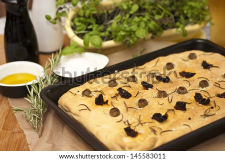 Focaccia with olives and sundried tomatoes