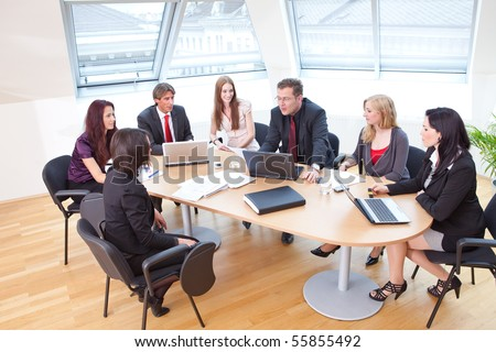 focus group on a business meeting in a modern office