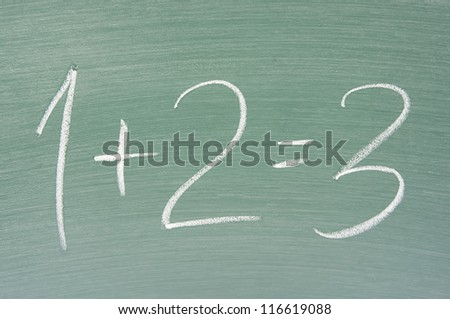 focus of chalkboard and simple math on chalkboard