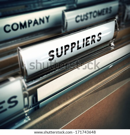 Focus on a folder tab where it is written the word suppliers, 3D render, blur effect.