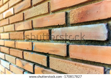 Focus on brick area mid wall, it made by bricks