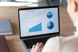 Focus on computer screen with increasing graphs and colorful charts of project financial statistics. Focused young businesswoman analyzing marketing strategy sales profitability, economics concept.