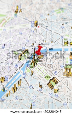 Focus On Eiffel Tower On A Paris Road Map With Red Pushpin Paris - Paris road map