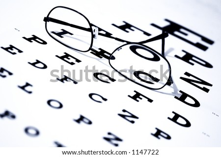 Focus on letters I and C.  Eye chart and glasses.