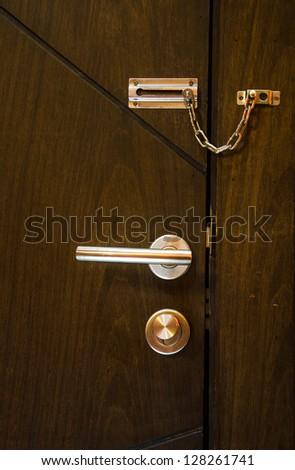 focus on lock at the door