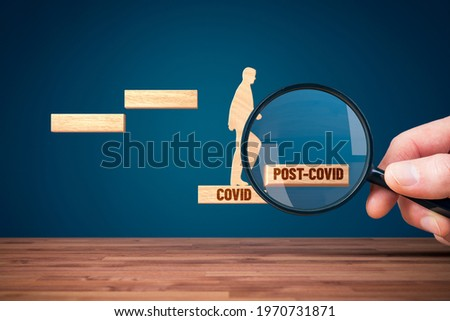 Focus on post covid-19 era after crisis. Business and economy growth concept after corona crisis economic downturn. Stock foto ©