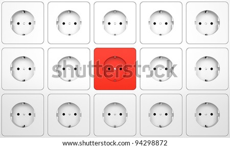 Focus on red outlet - Electric plug connector on the wall