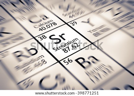 Focus On Strontium Chemical Element From The Mendeleev Periodic