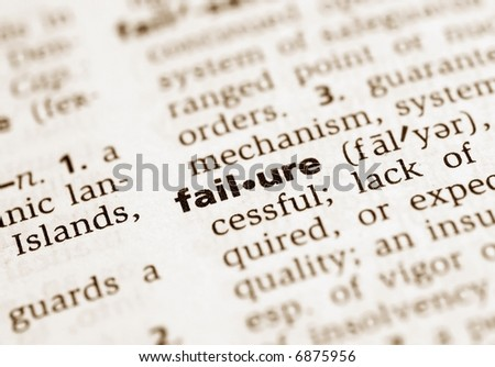 Focus on the word failure in the dictionary. Shallow depth of field