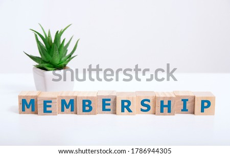 focus on wooden blocks with letters making Membership text. Concept image. Stock photo ©