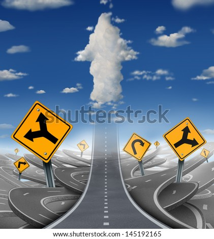 Focused determination success concept with a road or highway going forward away from a group of confusing distractions fading into the sky as clouds shaped as an upward arrow for business freedom.