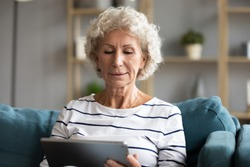Focused elderly 65 s woman sitting on sofa at home holding in hands tablet computer having distant chat on-line, easy quick internet services for retired people, older generation useful apps concept