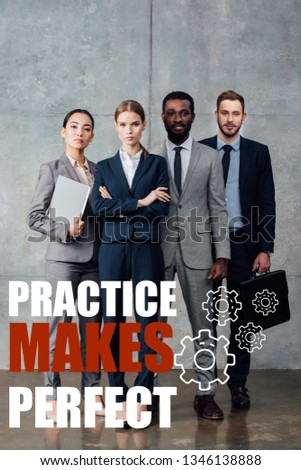focused multiethnic group of businesspeople in formal wear posing and looking at camera with practice makes perfect illustration in front