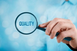 Focused on quality concept. Quality manager (businessman, coach, leadership) is focused on quality in business (total quality management concept).