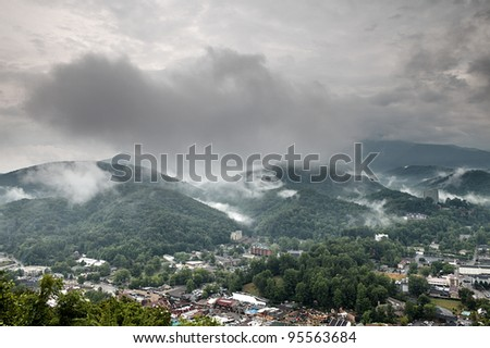 Fog and cloud mountain valley landscape. Great Smoky Mountain National Park, Tennessee, USA