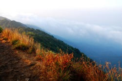 Fog and Clouds in the morning around the top of mountain , Thailand - hikes to epic mountains and adventurous backpacking