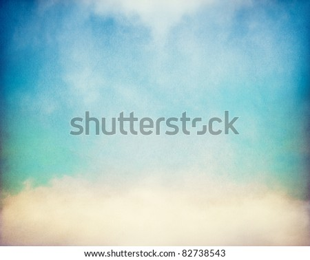 Fog and clouds on a vintage, textured paper background with a color gradient.  Image has a distinct paper grain at 100%.