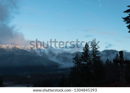 Fog and clouds on mountians #1304845393